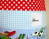 Winter Holiday Laundry Bag Skating Dogs Gingham Polka Dot And Stripes Aqua And Red Cute Bright All Cotton Handmade Washing Bag