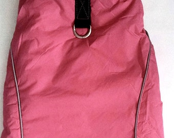 Dog Coat Pink with fleece inside Harness Coat