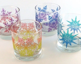 Snowflake Mandala - Lowball Tumbler Glasses - Set of 4 - Inlaid Style - Etched and Painted Glassware - Custom Made to Order