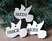 THREE Doves Ceramic Christmas Ornaments OFF WHITE gold edged