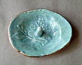 Ceramic Ring Holder Bowl  Damask Sea Green edged in gold