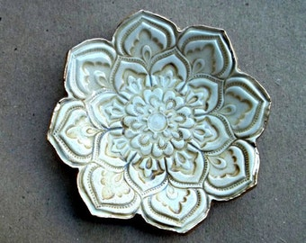 Sepia TEA STAINED Color Lotus Ceramic Ring Dish edged in gold