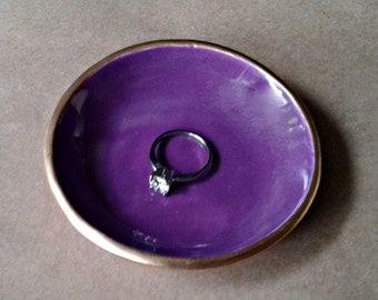 Ceramic Ring Bowl Trinket bowl Purple Gold edged