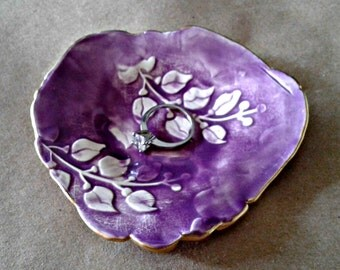 Ceramic Purple Ring Dish edged in gold
