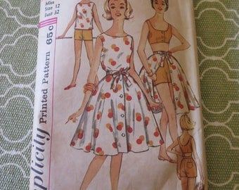 Vintage 60's Simplicity 3916 Misses Top Bra Short and Full Skirt Sewing Pattern size 12 B 32