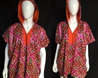 Sale! African Disco Spirit World Poncho© Cotton with Silk Lining, Unisex Festival Clothing, Caftan, Dashiki