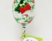 Strawberry Wine Glass -personalized glass - hand painted glass