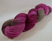 NEW Hand Dyed DK Weight Yarn Polworth and Silk - Tango by Yarn Hollow - Spellbound Raspberry Multi Color 4 ounces 330 yards