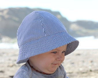 Baby and Toddler Sun Hat in Black and White Stripes