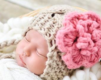 Crochet Baby Hat, Baby Girl Hat, Ear Flap Hat, Baby Newborn Hat, Baby Girl, Beige Pink, Newborn Hat, Newborn Baby Hat, Crochet Hat