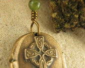 Celtic Cross Wax Seal Charm Pendant, Bronze and Connemara Marble, Cross Jewelry, Irish Celtic Jewelry, Necklace