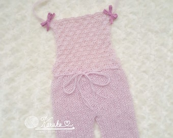 Tiny Petals Sitter Size Knit Romper Only, Newborn Photo Props, Ready to Ship