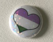 BENEFITS ACLU- Holographic Glitter Genderqueer One Inch Button, Pride, Non-Binary