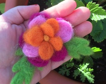 PERFUME BLOOM - Needle Felted Flower - Magenta, Pink, Orange, and Yellow - Pansy