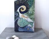 Rumi quote, beach decor, mermaid art, waves ocean sea, gold blue, gifts for her, Original Fabric on Wood art box