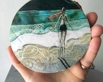 Graduation gift, Lost at Sea, emerald green ocean, beach girl, one of a kind Mounted Print on round wood slice