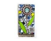 Starbucks Flower With Dragonfly. (Handmade Original Art Upcycled Starbucks Cap Mosaic Flower by Shawn DuBois)
