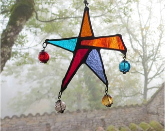 Stained Glass Star , Boho Stained Glass Carnival Star Suncatcher in cinnamon reds, Bohemian Decor