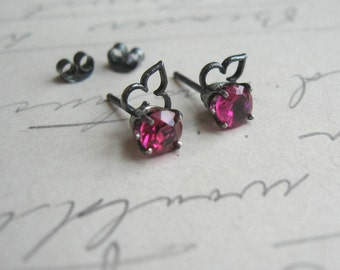 Sale Lab Ruby Moorish Post Earrings Gemstones in Oxidized  Sterling Silver ready to ship