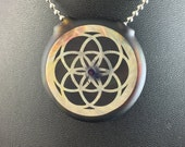 Glass  Pendant Flat Hollow Double Sided Reversible Flower Seed of Life - Dan Rushin