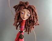 Chime Doll - Charm - pink - purple - green - gold - brass bells - bamboo yarn - glass beads - art doll - polymer clay - roses - brown