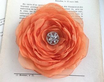 Orange Flower Hair Clip.Brooch.Pin.Bridesmaid.Headpiece.hair accessory.Light Orange.tangerine.Cataloupe.wedding.fascinator.hair piece.Fabric