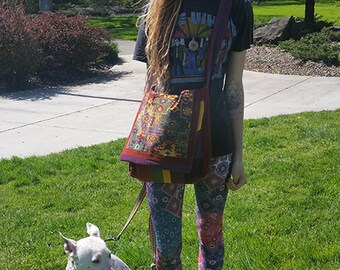 Hippie Patchwork all Corduroy Handbag ~fully Lined Messenger Bag~ Crossbody Purse with Pockets