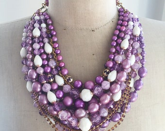 SALE Vintage Multi Strand Statement Necklace - Mauve Madness