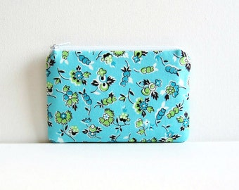 Coin Purse, Small Zipper Pouch, Organizer, Denyse Schmidt, Blue and Green Floral Picnic & Fairgrounds