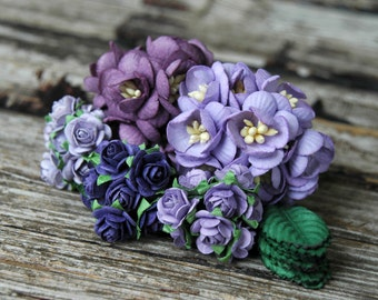 60pcs . Purple Paper Flowers . Small Paper Flowers . Wedding Paper Flowers . Millinery Flowers . Lavender Wedding . Boutonniere Corsage