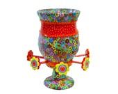 Flower Vase, glass vase, vases, home design, concrete decor, glass vase, flower, decorative jar, vase, multi colors, polymer clay