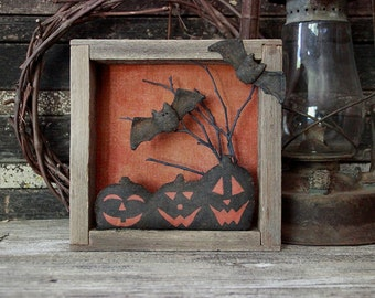 Primitive Halloween Pumpkins and Bats Assemblage Shadow Box, Halloween Decoration, Primitive Folk Art