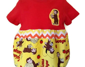 Curious George Handmade Upcycled Dress or Top, 12M, Toddler Dress Top by We Wear What We Want!