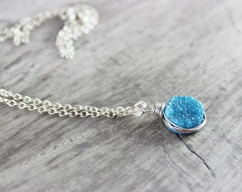 Light Blue Druzy Necklace, Small Circle Necklace, Sterling Silver Necklace, Sky Blue Necklace, Druzy Gemstone Necklace, Wire Wrap Necklace