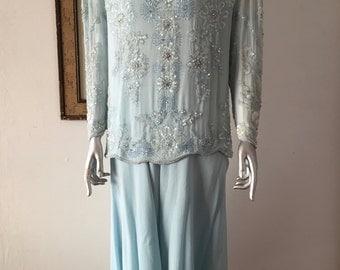 Pale Blue Rhinestone and Beaded Silk 2 Piece Dress