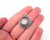 14mm pendant settings, silver plated, outside dimension 23x20mm, pick your amount