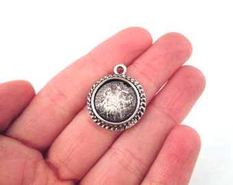 14mm pendant settings, silver plated, pick your amount, B201