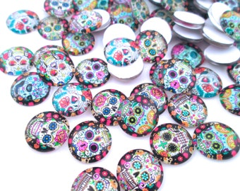 "Sugar Skull Day of the Dead Glass Cabochons, ""Dia de los Muertos"" Cabochons"