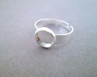 8mm Silver Plated Bezel Adjustable Ring Blanks
