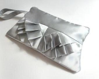 Retro Style Solid Silver Satin Ruffled Wristlet