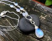 Rainbow Moonstone Sterling Silver Pendant, Wire Wrap, Handmade Jewelry, Blue Moonstone, Teardrop Pendant, 17 half inch long Necklace Chain
