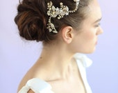 Bridal hair clip - Leaf charm bendy branch w/ clip - Style 626 - Ready to Ship