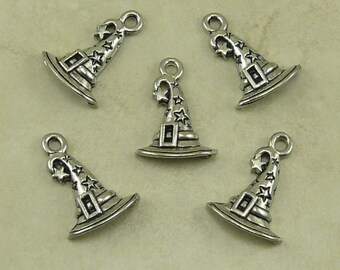 5 Witch Wizard Hat Charms > Halloween Magic Harry Potter Sorting Star - Raw Lead Free Pewter Silver American Made I ship Internationally