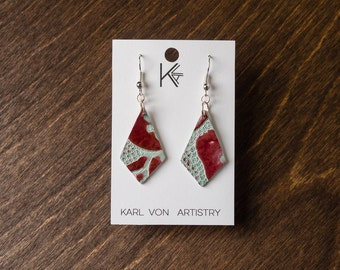 "RECYCLED Leather Earrings - Cranberry and Light Blue Cyan Diamond (1 1/8"" x 3/4"")"