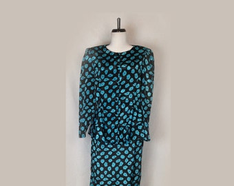 Vintage Dress, 1980's, Two Piece, Peplum, Turquoise Print, Button Top, Long Sleeves, Big Shoulders, Medium