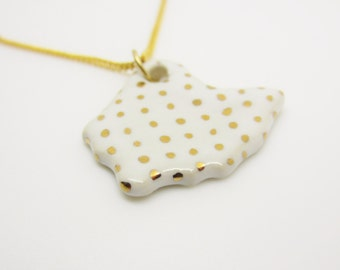 Gold Metallic Polka Dot Ohio Necklace Glazed Ceramic on an 18 inch Gold Chain