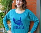 American Apparel Top, American Apparel Tri Blend Shirt, Tri Apparel, Slouchy Sweatshirt, Lightweight Pullover Sweat, Seattle Seahawks Shirt