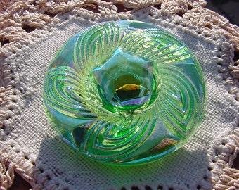 Sea Mist Green Textured Czech Glass Button WOW