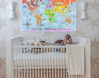 Countries and Landmarks of the WORLD Great Map for kids baby blue watercolor art poster by Marley Ungaro