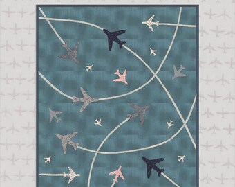 Airshow Quilt Kit - Create your own air display with Janet Clare's aviation themed 'Flight' Moda fabric and fusible laser cut aeroplanes!